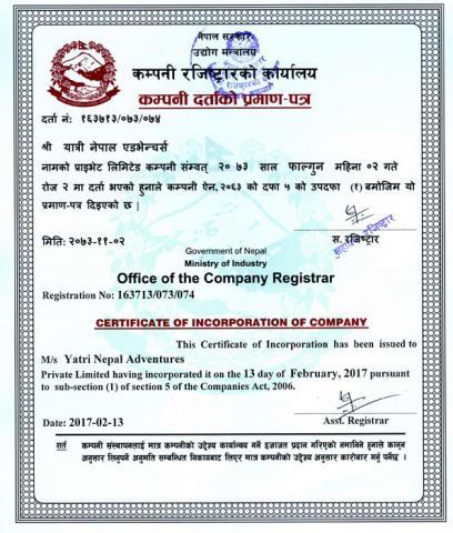 Yatri Nepal Adventures Company Registration Certificate